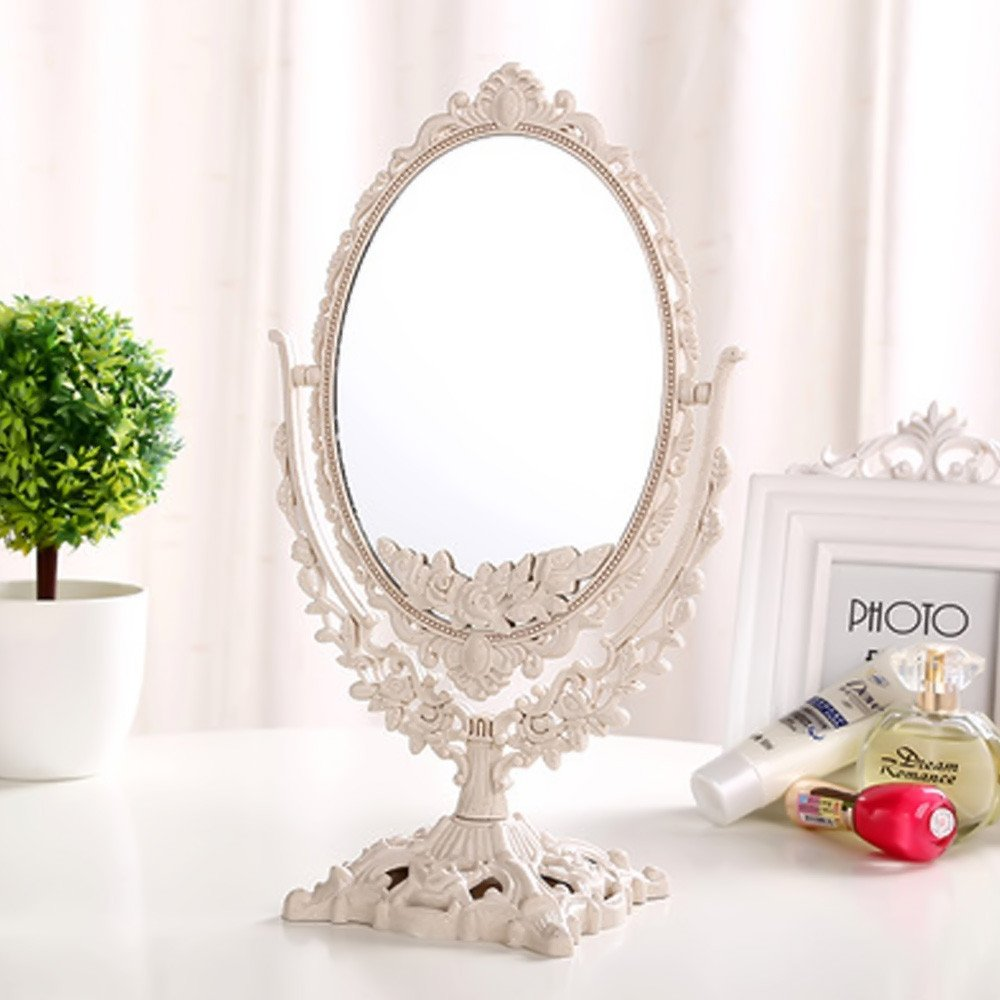 GF Wood Women Makeup Mirror Vintage Floral Oval Round Handhold Mirror Princess Elegant Makeup Beauty Tools,White,Oval by GF Wood (Image #1)