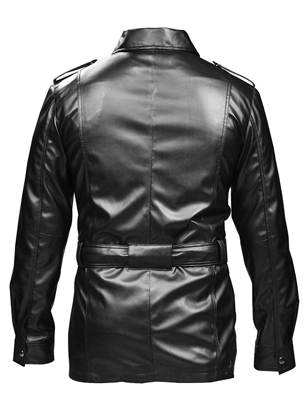 0cd4c2ff2290 ST Leather Trench Coat Blazer Men Brandit Army Military Style Jacket Faux Black  Leather Slim Fit Big Tall Boys Kids Size at Amazon Men's Clothing store:
