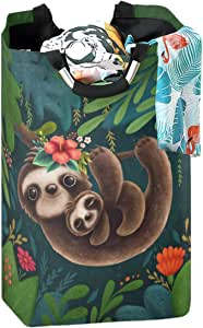 CaTaKu Flower Cute Sloth Laundry Hamper,Animal Sloth Laundry Basket Box Big Storage Waterproof Easy Carry for Family Dormitory Laundry Room, 12.6 x 11 x 22.7 Inches