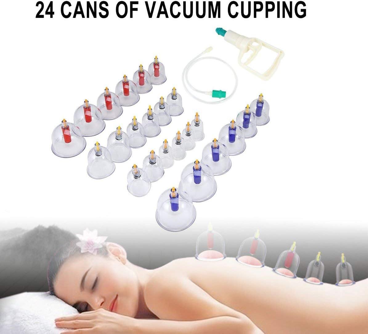 Claro Sunnyflowk Chinese Health Care Medical Vacuum Body Cupping Set 24Pcs Latas de Masaje Taza Biomagn/ética Terapia de Masaje Kit de relajaci/ón Corporal