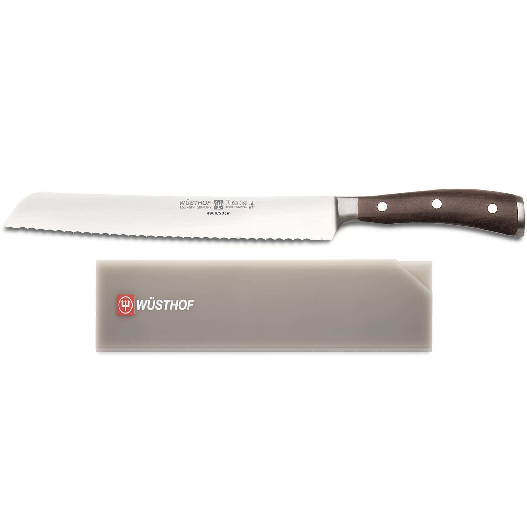 """Wusthof Ikon 9"""" Serrated Bread Knife with Blade Guard Fits Up To 10'' Cook Knife"""