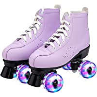 Kexle Light Up Roller Skates for Women,PU Leather Purple High-top Classic Quad Rollerskates,Suitable for Beginners and Adult Roller Skate Shoes