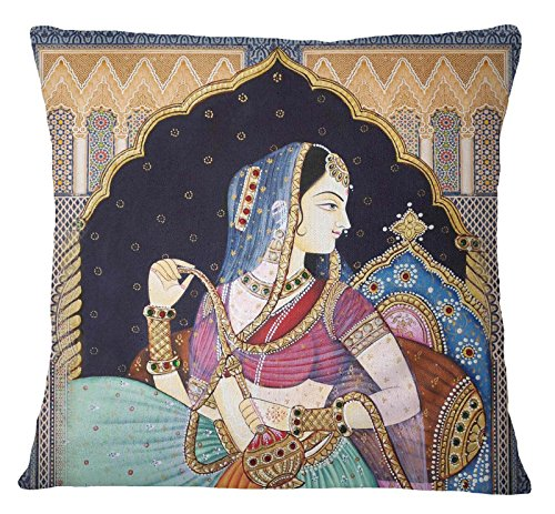 S4Sassy Multicolor Home Decor Mughal Print Square Cushion Cover Pillow Case Throw -14 x 14 ()