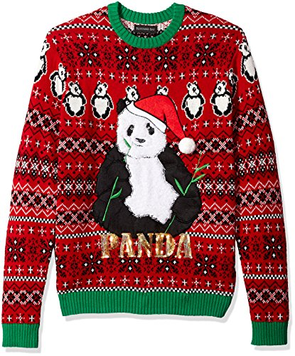 Blizzard Bay Men's Panda Santa Ugly Christmas Sweater, Large