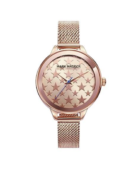 Mark Maddox MC6008-98 Reloj de Mujer Cuarzo Metal IP Rosé Esfera Estrellas Tamaño 36 mm: Amazon.es: Relojes