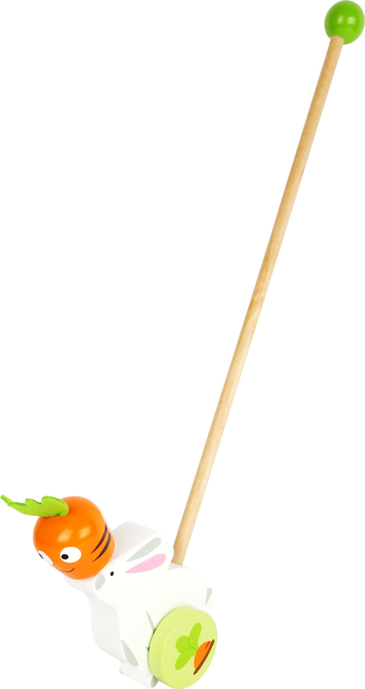Small Foot 10574 Toy Hare with a Long Wooden Rod for Easy Pushing and Holding, Colourful Wheels Move The Bunny with The Rotating Carrot Forward