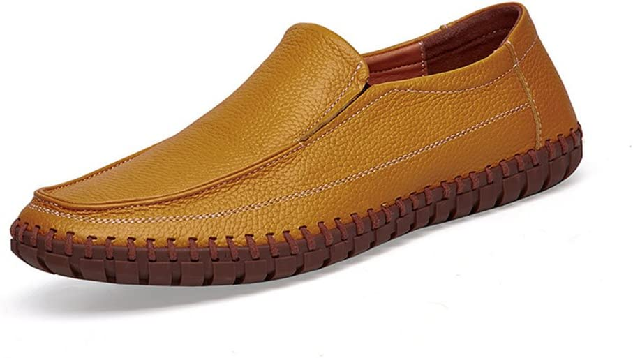 Color : Yellow, Size : 6 US Summer Mens Head Layer Cowhide Business Casual Shoes Dermis Mens Leather Dress Shoes Slip On Plain Toe Loafer