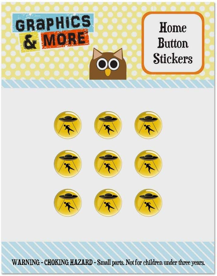 Alien Abduction Hazard Warning Sign Set of 9 Puffy Bubble Home Button Stickers Fit Apple iPod Touch, iPad Air Mini, iPhone 5/5c/5s 6/6s 7/7s Plus