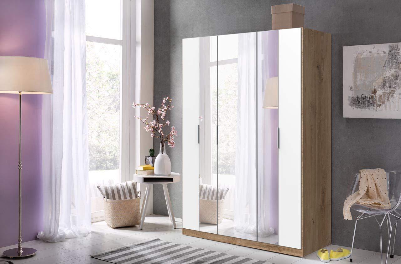 lifestyle4living Kleiderschrank in Plankeneiche-Nachbildung | Drehtürenschrank mit Absetzungen in weiß, 3-türig, Falttürenschrank mit Spiegeltür ca. 139 cm