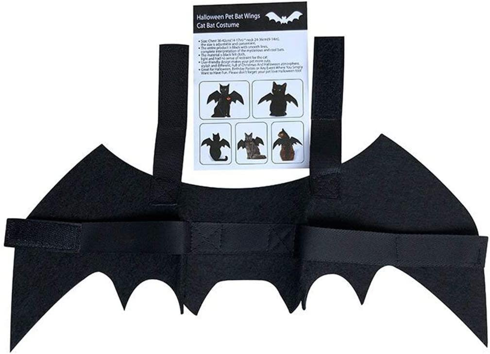 Pet Cat Bat Wings for Halloween Party Puppy Collar Leads Cosplay Bat Costume Cute Black Halloween Stage Effect Dress