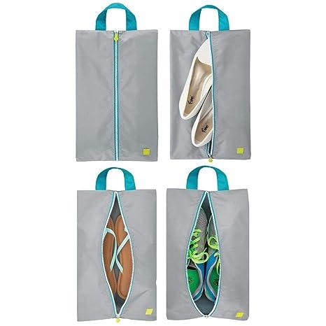 mDesign Juego de 4 bolsas para zapatos – Ligeras bolsas de viaje para guardar zapatos – Fundas con cremallera para deporte, productos de aseo o para ...