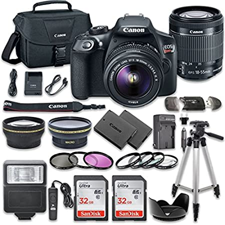 "This Camera Digital SLR Camera Bundle Includes: Canon EOS Rebel T6 Digital Camera Canon EF-S 18-55mm f/3.5-5.6 IS II LensCommander 2.2x Auxiliary Telephoto LensCommander 0.43x Auxiliary Wideangle Lens Commander 3 Pieces Filter Kit50"" Camera Tripod 2 ..."