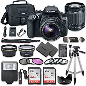 Canon EOS Rebel T6 DSLR Camera Bundle with Canon EF-S 18-55mm f/3.5-5.6 IS II Lens + 2pc SanDisk 32GB Memory Cards + Accessory Kit