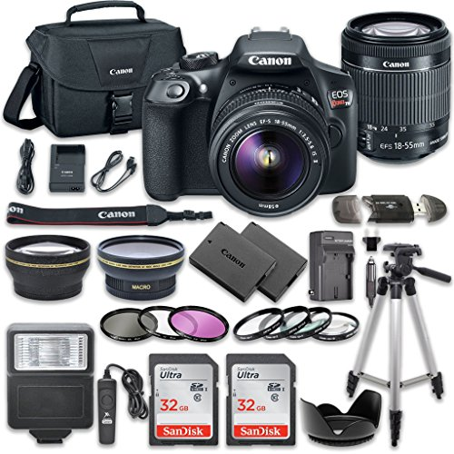 SLR Camera Bundle with Canon EF-S 18-55mm f/3.5-5.6 IS II Lens + 2pc SanDisk 32GB Memory Cards + Accessory Kit (18 Mp Aps)