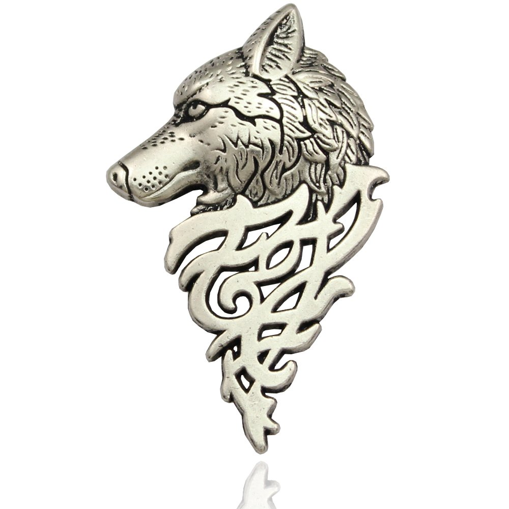 Q& Q Fashion Art Nouveau Dire Wolf Head Coyote Antique Aztec Costume Lapel Brooch Pin Badge B01EA50UXC_US