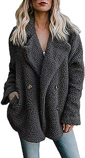 FeiBeauty Frauen Winter lose Taste Wolle Revers Strickjacke Mantel Volltonfarbe Tasche große Größe Windjacke Mode Temperament wild