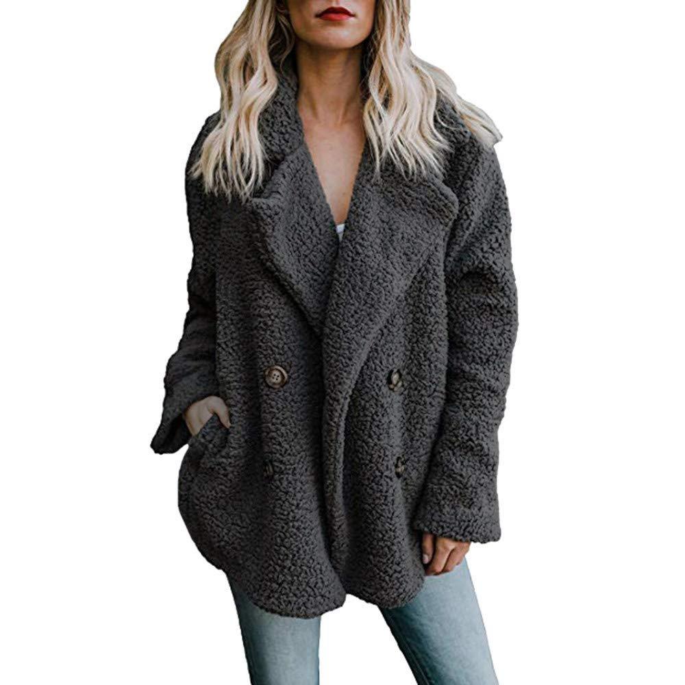 FeiBeauty Frauen Winter lose Taste Wolle Revers Strickjacke Mantel Volltonfarbe Tasche groß e Grö ß e Windjacke Mode Temperament wild
