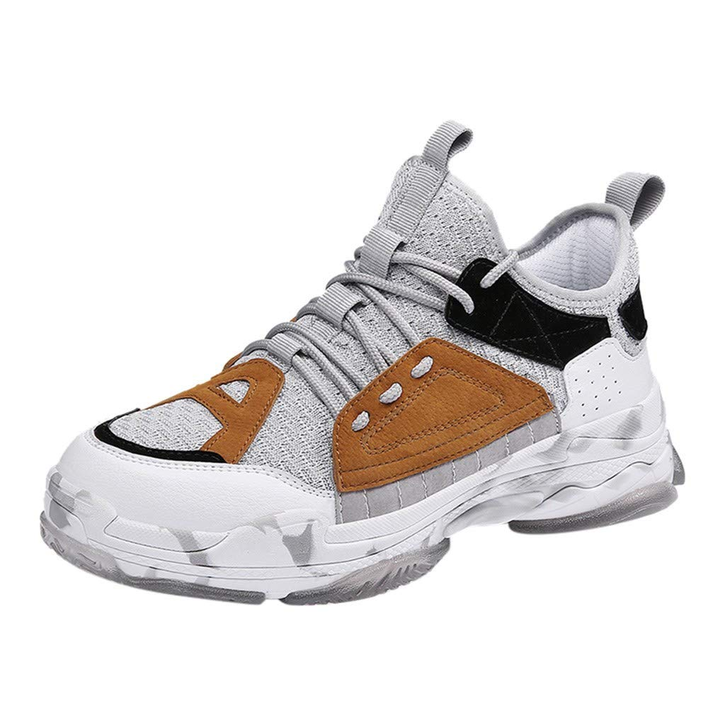 Men Breathable Mesh Outdoor Shoes Thick Bottom Running Shoe Lace Up Sneakers Non Slip Walking Shoe By Lmtime(Brown,39)