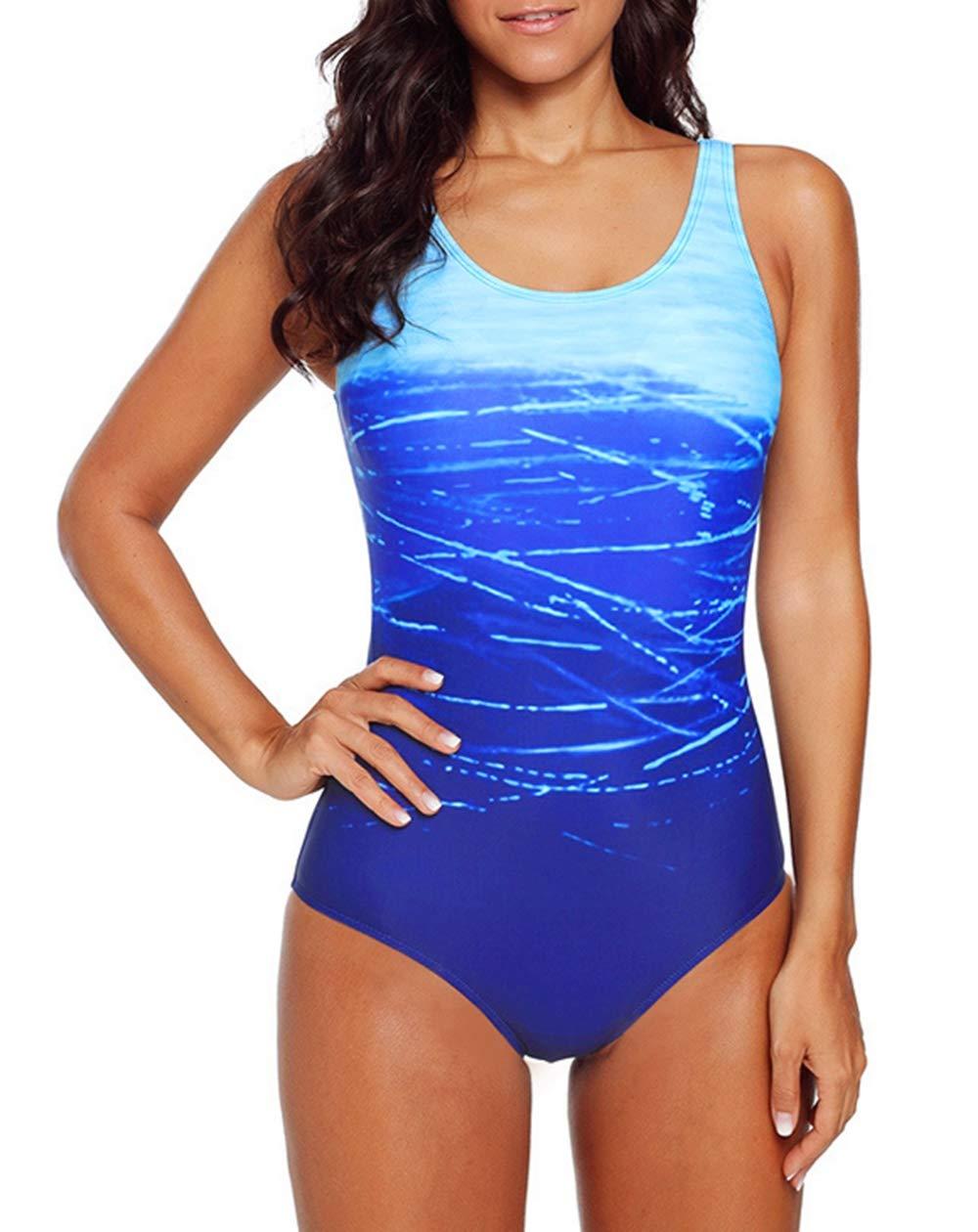 Temptme Apparel Women Athletic Gradient Color One Piece Swimsuit Color Block Crisscross Swimwear Bathing Suit S