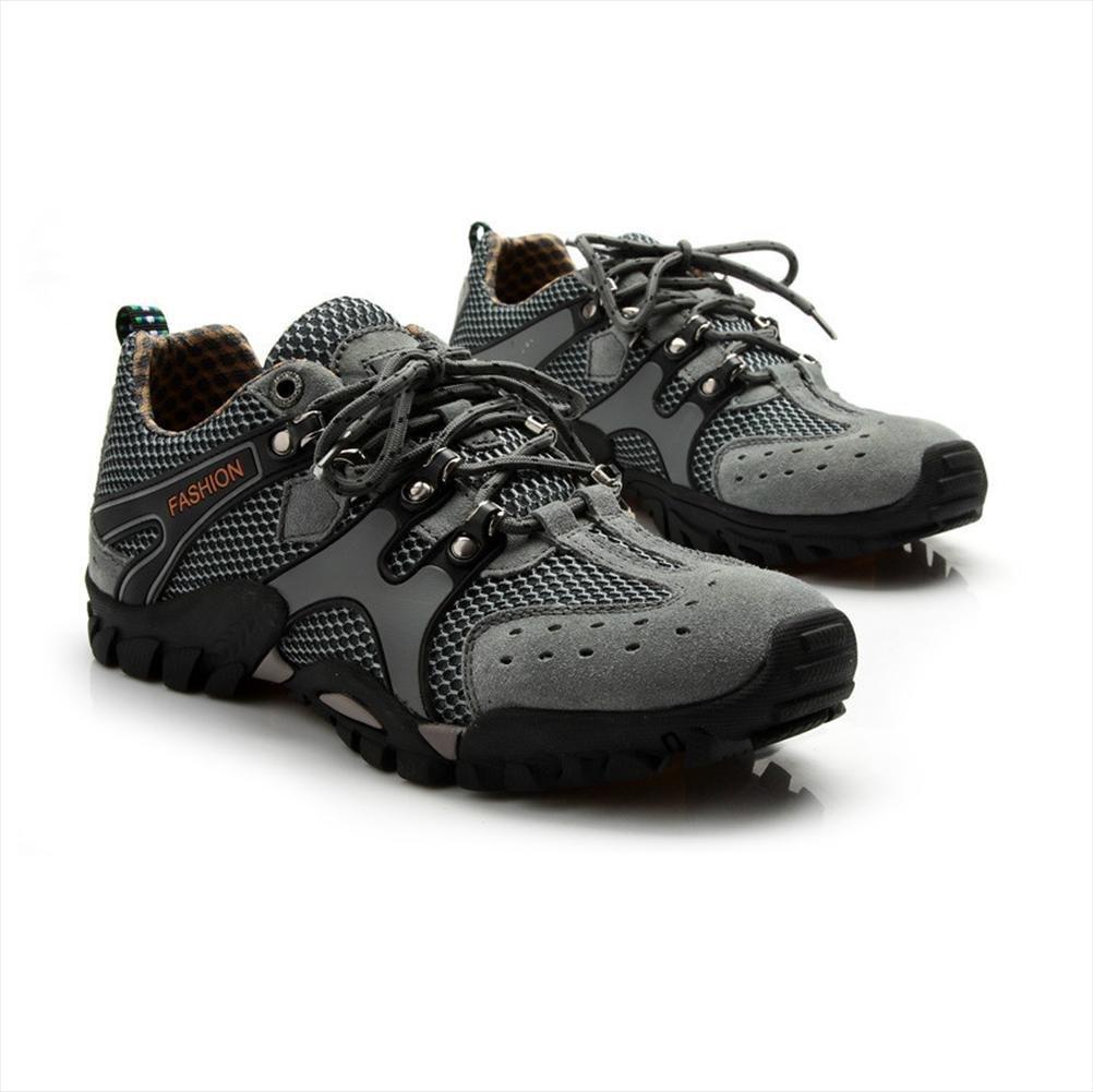 WDGT Herren Sport Schuhe Original Leder Wasserdicht Rutschfest Leder Schnüren Turnschuhe Stiefel Warm Halten Leicht Dauerhaft Schuhe zum Draussen Laufen Reisen Trekking Wandern Sport