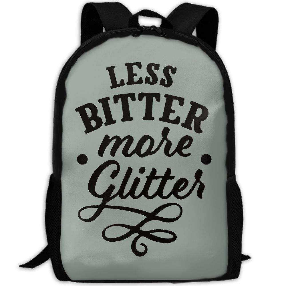 OIlXKV LESS BITTER MORE GLITTER Print Custom Casual School Bag Backpack Multipurpose Travel Daypack For Adult