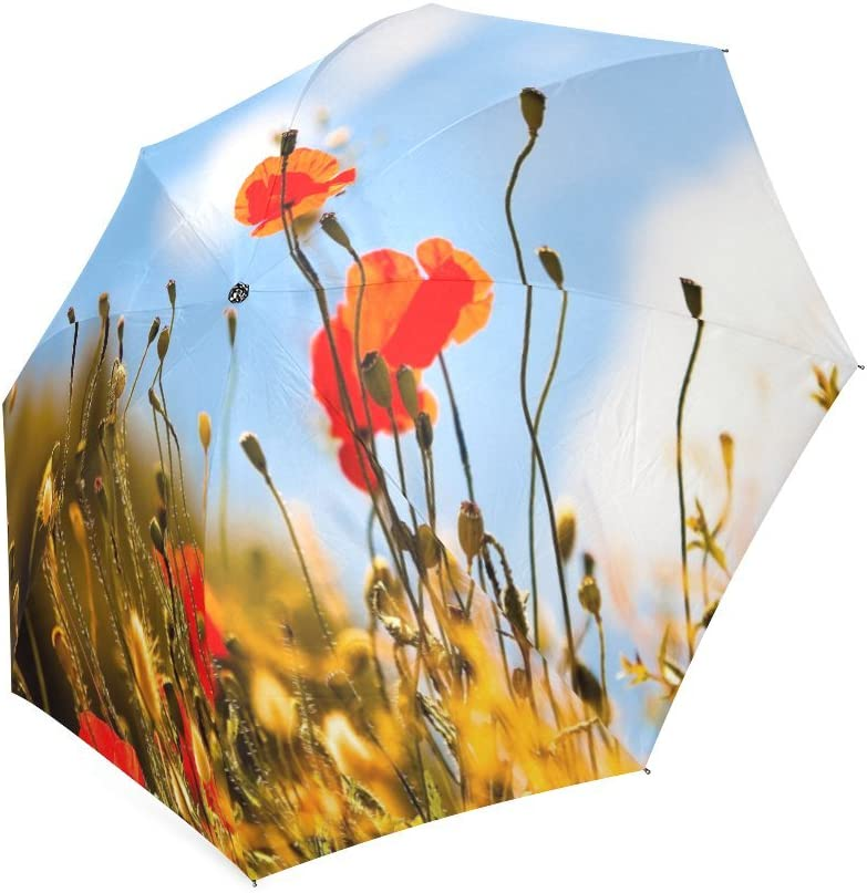 Custom Red Poppy Flower Compact Travel Windproof Rainproof Foldable Umbrella