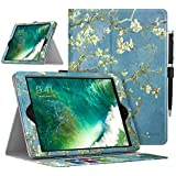 MoKo Case for Apple iPad 9.7 Inch 2018/2017(iPad5/iPad6)/iPad Air/iPad Air 2 Tablet - Premium Light Weight Shock Proof Stand Folio Cover Protector with Auto Wake/Sleep, Almond Blossom