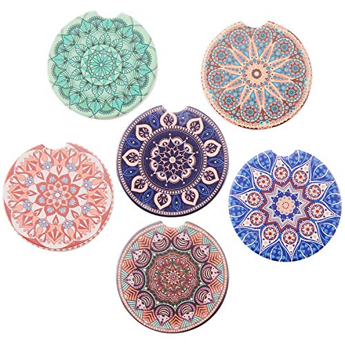 (Car Absorbent Ceramic Coasters Pack of 6, Stoneware Auto Cup Holder Coasters for Drink,Car Accessories to Keep Your Car Cup Holders Clean and Dry,2.56