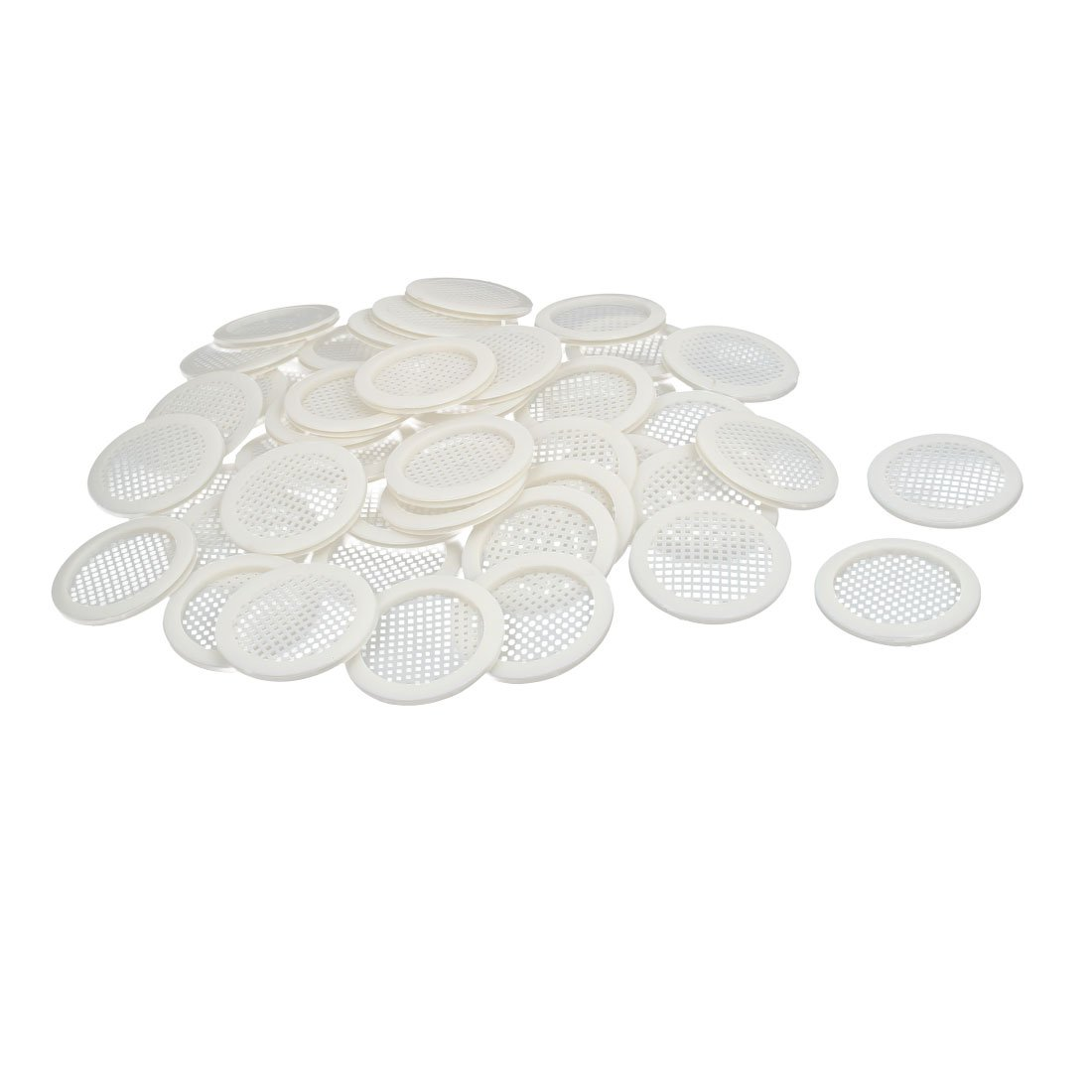 uxcell Shoes Cabinet 67mm Dia Plastic Square Mesh Hole Air Vent Louver Cover White 100pcs