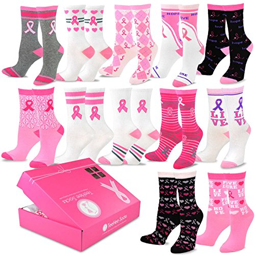 TeeHee Breast Cancer Awareness 12-Pack Gift Socks for Women with Gift Box (Pink Ribbon)