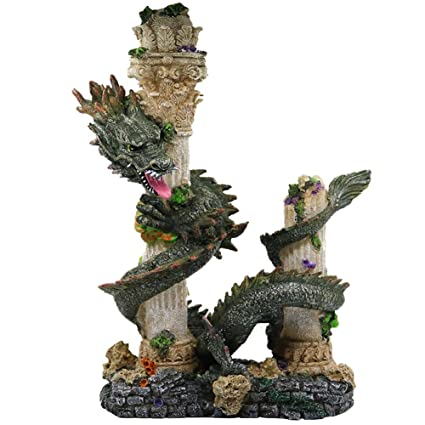 Amazon Com Mujing Aquarium Decorations Ancient Resin Chinese Dragon