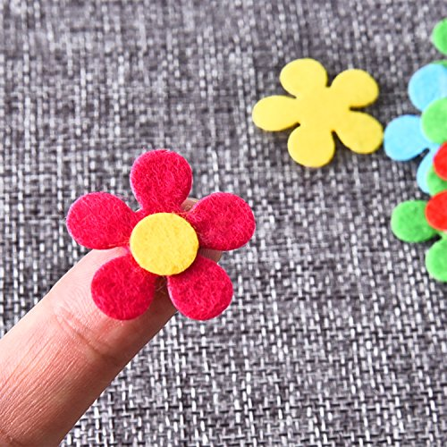 Sumind 100 Pieces Felt Flowers Fabric Flower ...