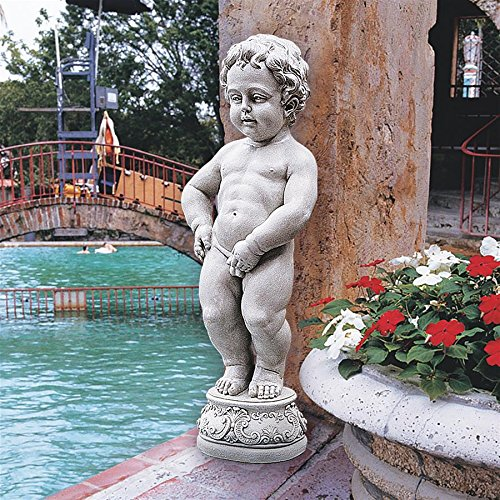 Design Toscano Manneken Pis Peeing Boy Piped Pond Spitter Statue Water Feature, 27 Inch, Polyresin, Antique Stone For Sale