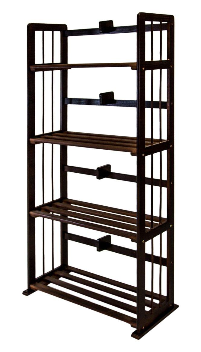 Furinno FNCL-33001-C1 Pine Solid Wood 3-Tier Bookshelf, Espresso