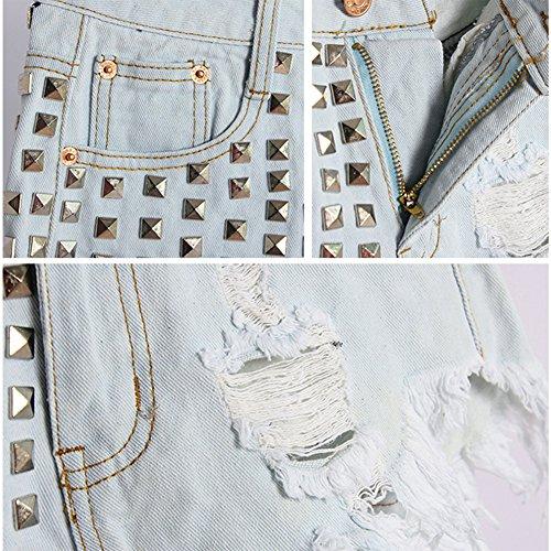 Cortocircuitos Rasgado Con Dril Vaqueros Pantalones Jeans Agujero Zarco Corto Remaches Cintura Alta Mujer gxq6Idq