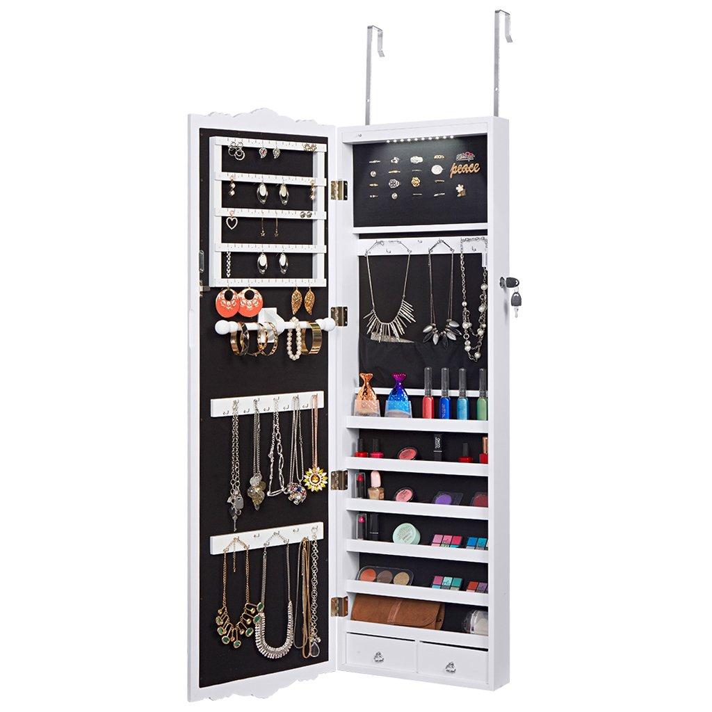 LANGRIA Full Length Montaggio a Parete Bloccabile Sospesa Armadio Gioielleria Armadio e Accessori Storage Organizer con 2 Cassetti Design Intagliato e 3 Altezze Regolabili (Bianco) V3JPFNOK-YKUK-F1