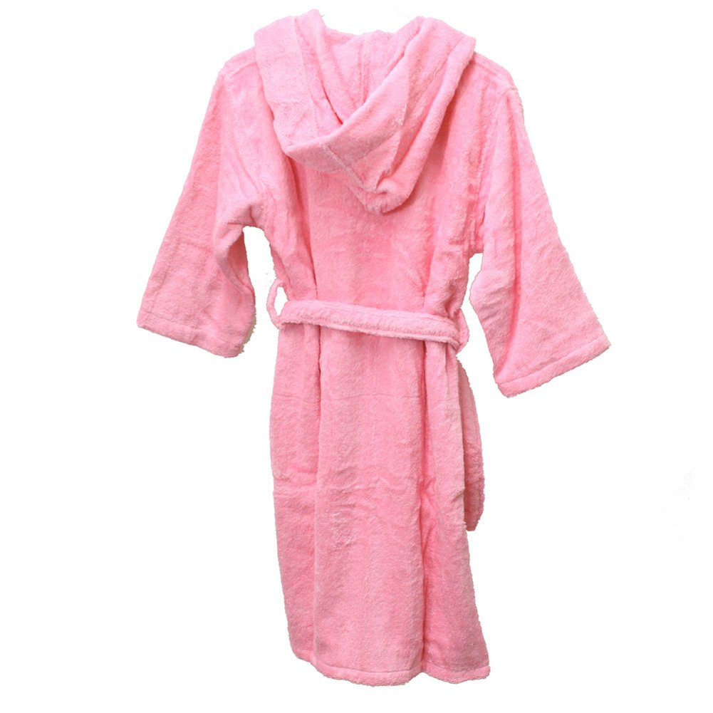 Hooded Terrry Cotton spa bathrobes for girls, Pink(large)