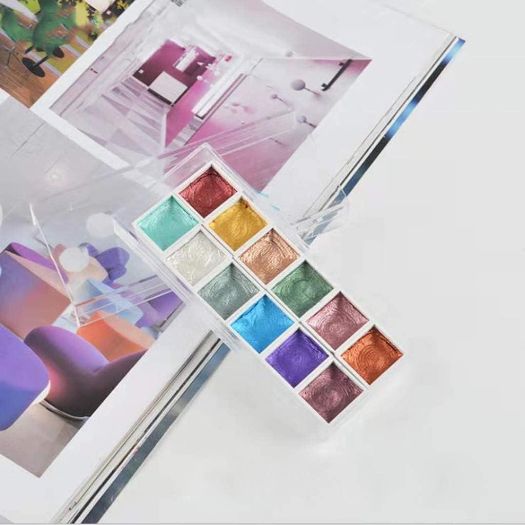 qiuxiaoaa 12 Colori Glitter Colori ad Acqua Set Metallic Gold Pigment Paint Artist Painting Watercolor Paints Pigment
