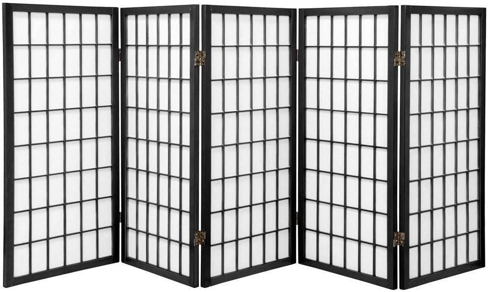Oriental Furniture 3 ft. Tall Window Pane Shoji Screen - Black - 5 Panels