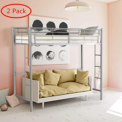 Wondrous Safstar Twin Loft Bed Heavy Duty Metal Bunk Bed With Ladders Space Underneath For Boys Girls Teens Kids Bedroom Dorm Two Silver Loft Bed Creativecarmelina Interior Chair Design Creativecarmelinacom