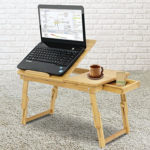 BBBuy 100% Bamboo Adjustable Laptop Table - Foldable Standing Bed Desk - Sofa Breakfast Tray - Notebook Stand Reading Holder for Couch Floor with Storage Drawer