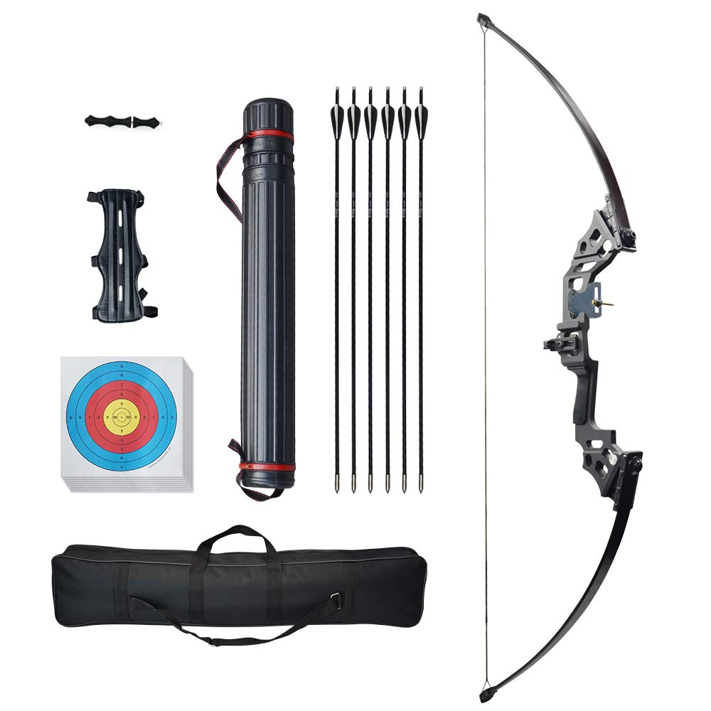 D&Q Archery Straight Bow and Arrow Set Recurve Bow Longbow 40lbs Take Down Outdoor Practice Hunting Shooting Target Bow Bowstring Hunting Equipment Sturdy Longbow + Telescopic Arrow Bag