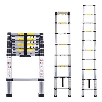 Myifan - Escalera telescópica multiusos de aluminio portátil ...