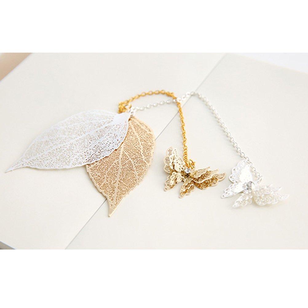 TOYMYTOY segnalibri metallo argento Particolare Farfalla e foglie Segnalibro Fai Da Te per bambini laurea Silver