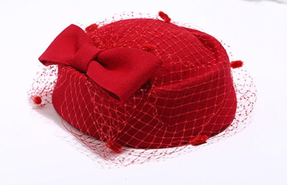 Hut f/ür Hochzeit Hut aus Wolle Party Sheliky Fascinator mit Pillendose