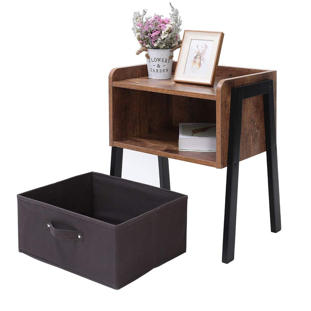 IWELL Rustic Nightstand, Wooden Small Side Table with 1 Removable Fabric Drawer for Small Spaces, End Table for Bedroom, Solid Wood Legs BZX006F