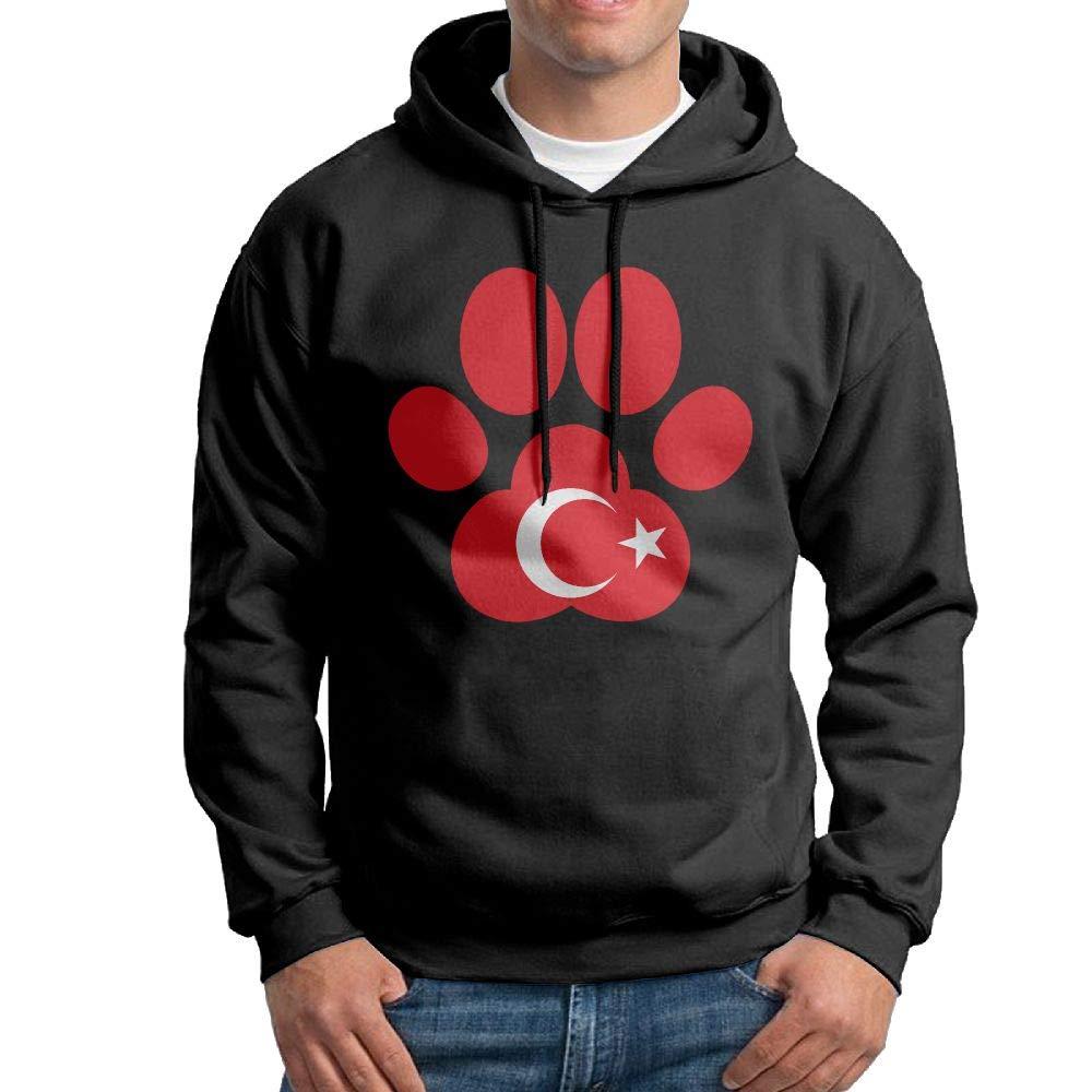 Men Pullover Hoodies Turkey Flag Dog Paw Long Sleeve Fleece Hooded Sweatshirt Sweater Blouses Tops