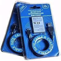 Kit C/ 2 Baterias Controle Ps4 Playstation + Cabo Carregador Usb