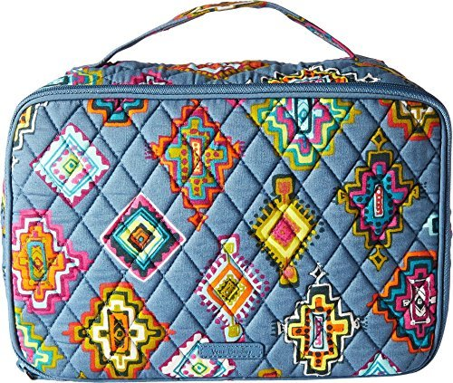 Blush Medallion (Vera Bradley Luggage Women's Large Blush & Brush Makeup Case Painted Medallions Cosmetic Bag)