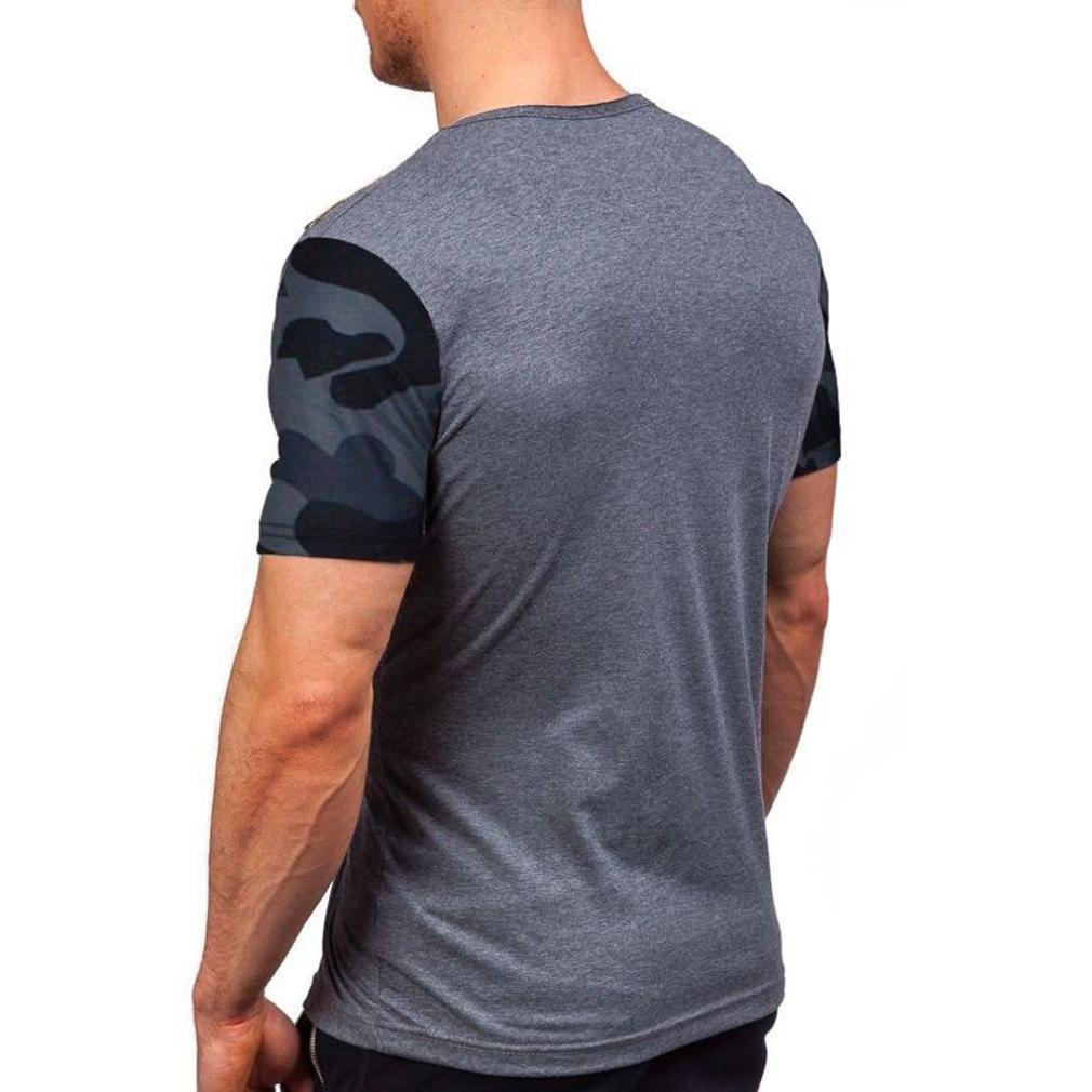 Mikkar Mens Pocket T-Shirt Blouse Splicing Printing Tees Shirt Short Sleeve Tops